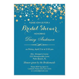 Bridal Shower - Gold Confetti Dots Royal Blue 13 Cm X 18 Cm Invitation Card