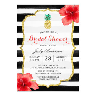 Bridal Shower Gold Glitter Pineapple Red Hibiscus 13 Cm X 18 Cm Invitation Card