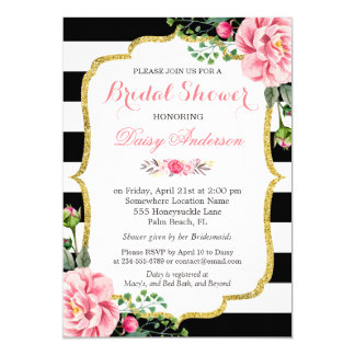 Bridal Shower Gold Pink Floral Black White Stripes Card