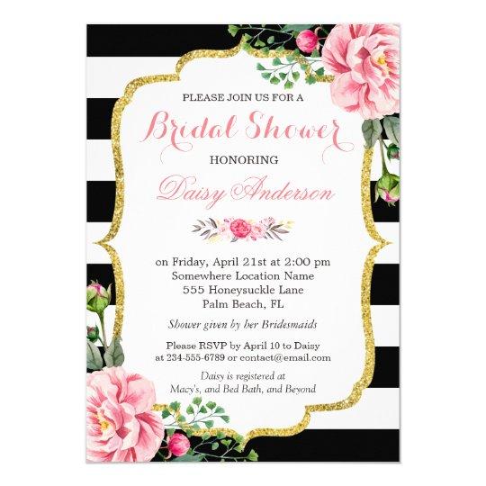 Bridal Shower Gold Pink Floral Black White Stripes