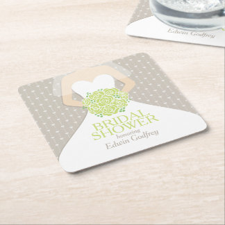 Bridal shower green roses white dress custom square paper coaster