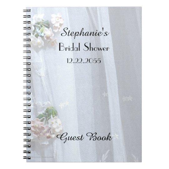 Bridal Shower Guest Book, Vintage Lace Spiral Notebook