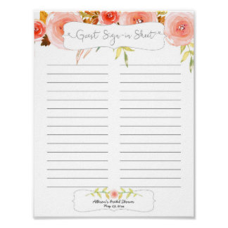 Bridal Shower Guest Sign In Sheet / blush floral Poster