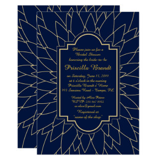 Bridal Shower Honoring, Monet's Dahlia style,Navy Card