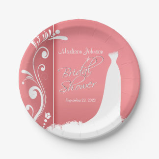 Bridal Shower in a Beautiful Coral Design Paper Plate