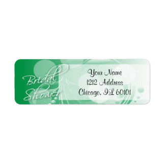 Bridal Shower in a Green and White Return Address Label