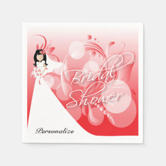 Bridal Shower in a Pretty Red And White Disposable Serviettes