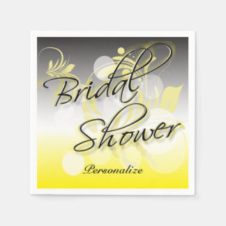Bridal Shower in a Pretty Yellow and Gray Disposable Serviette