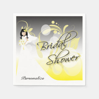 Bridal Shower in a Pretty Yellow and Gray Paper Napkins