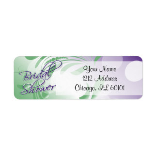 Bridal Shower in a Purple and Green Return Address Label