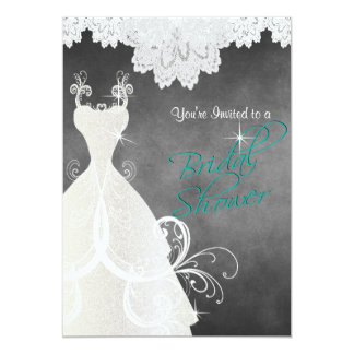 Bridal Shower in Chalkboard and Lace 13 Cm X 18 Cm Invitation Card