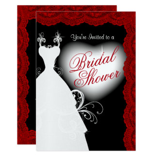 Bridal Shower in Deep Dark Red Lace on Black 13 Cm X 18 Cm Invitation Card