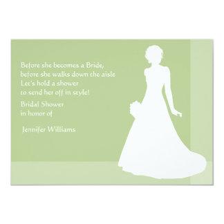 Bridal Shower in Green with Bride Silhouette 11 Cm X 16 Cm Invitation Card
