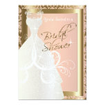 Bridal Shower in Metallic Gold and Pink Rose 13 Cm X 18 Cm Invitation Card