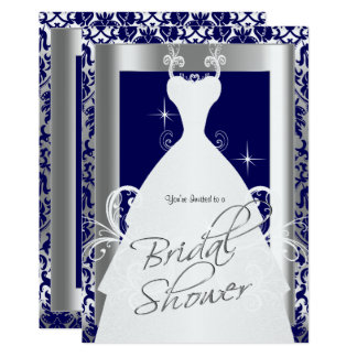 Bridal Shower in Navy Blue Damask and Silver 13 Cm X 18 Cm Invitation Card