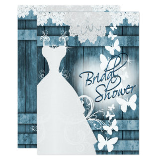 Bridal Shower in Rustic Blue Barn Wood and Lace 13 Cm X 18 Cm Invitation Card