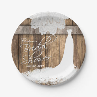 Bridal Shower in Rustic Wood & White Lace 7 Inch Paper Plate
