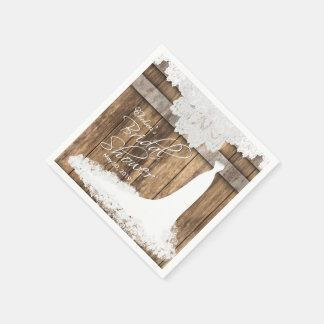 Bridal Shower in Rustic Wood & White Lace Disposable Napkins