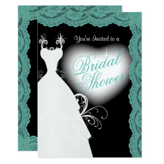 Bridal Shower in Teal Lace on Black 13 Cm X 18 Cm Invitation Card