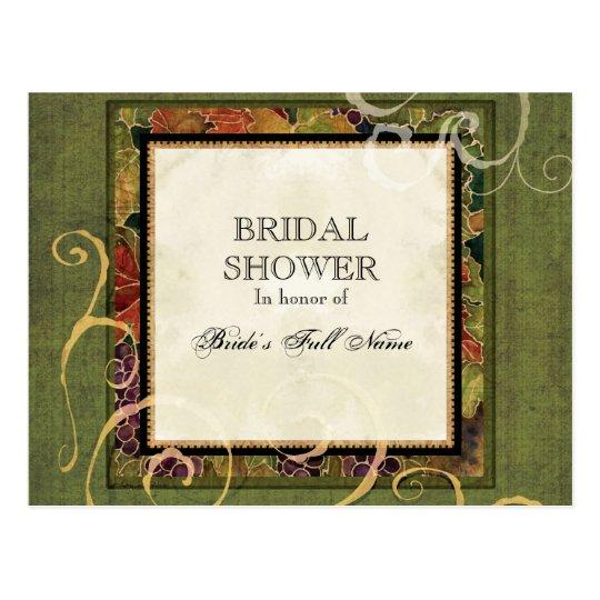 Bridal Shower Invitation Autumn Grape Leaf Postcard