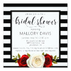 Bridal Shower Invitation Black White Stripes Rose