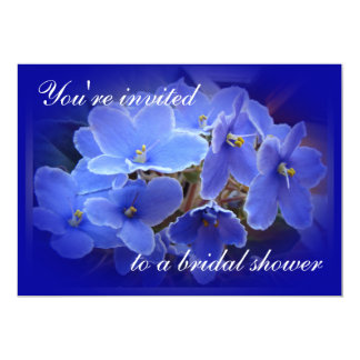 Bridal Shower Invitation Blue African Violets