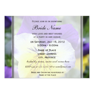 Bridal shower invitation, blue pansy flower announcement