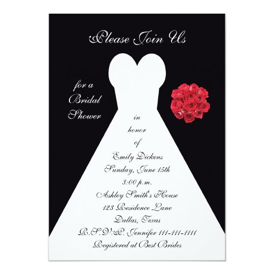 Bridal Shower Invitation - Bridal Gown Red Roses