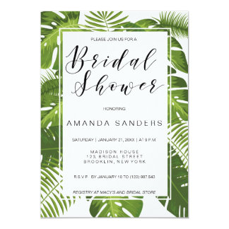 Bridal Shower invitation card | tropical elegant