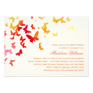 Bridal Shower Invitation Fluttering Butterflies Personalized Invites