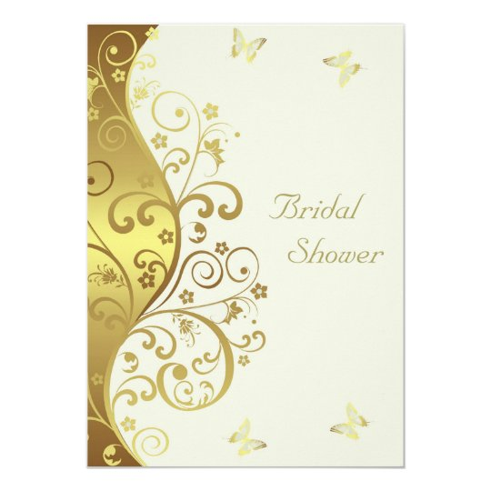Bridal Shower Invitation--Gold Swirls & Ivory 5x7 Card