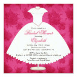Bridal Shower Invitation Gown Magenta Pink Rose