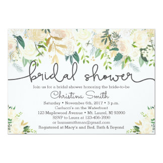Bridal Shower Invitation Ivory and Greenery