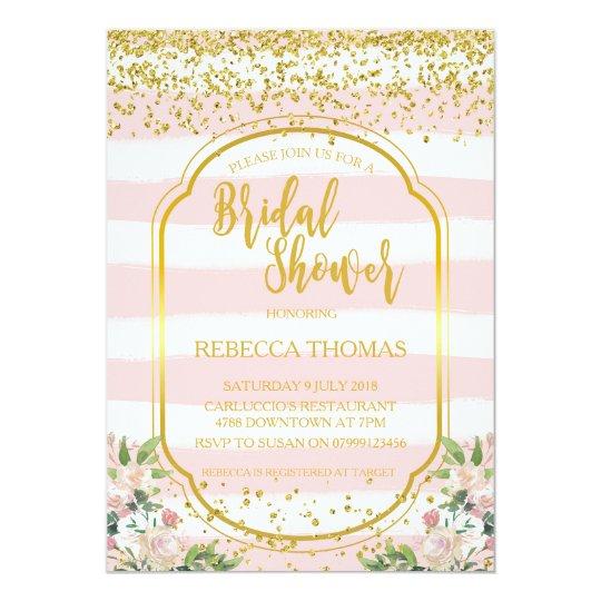 Bridal Shower invitation modern pink gold