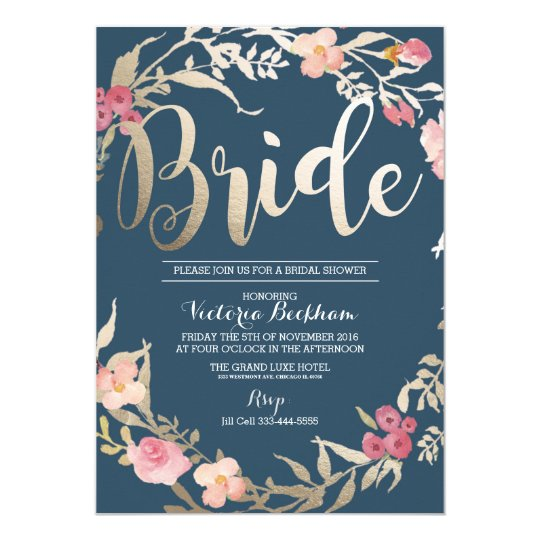 Bridal shower invitation, Navy floral foil bride Card