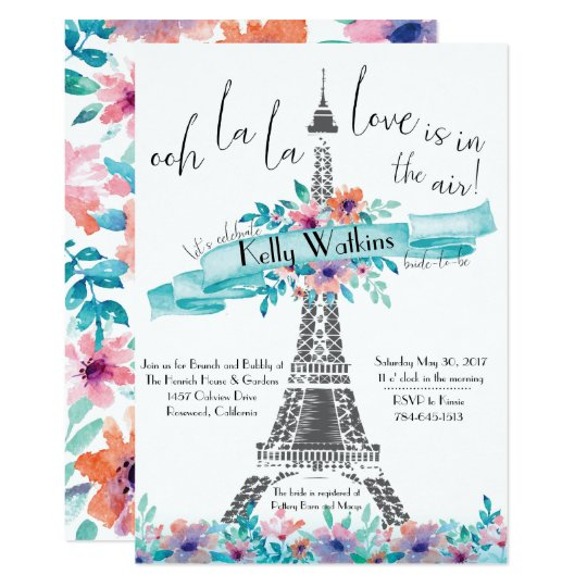 Bridal Shower Invitation- Paris, Floral Card