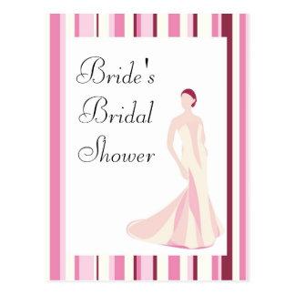 Bridal Shower Invitation-Pink Striped Postcard