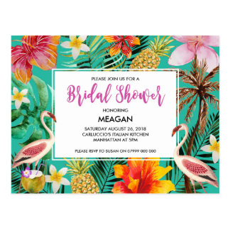 Bridal Shower invitation tropical flamingo Postcard