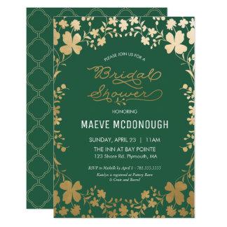 Bridal Shower Invitation, Vintage Green & Gold Card