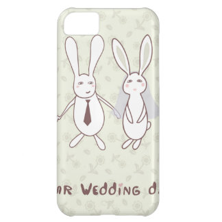Bridal shower invitation with two cute rabbits in iPhone 5C covers