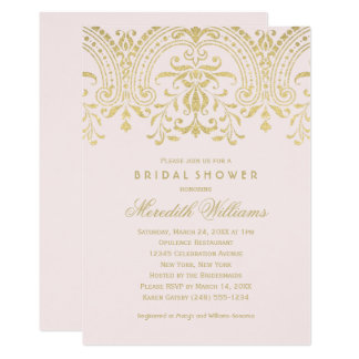Bridal Shower Invitations | Gold Vintage Glamour