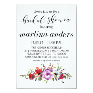 Bridal Shower Invitations Pink Floral Watercolor