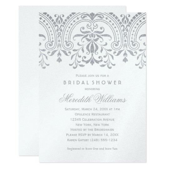 Bridal Shower Invitations | Silver Vintage Glamour