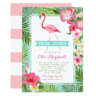 Bridal Shower Invitations | Tropical Flamingo