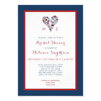 Bridal Shower Invite, red navy floral heart 3986 Card