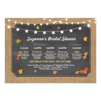 Bridal Shower Itinerary Fall Rustic Burlap Lights Card