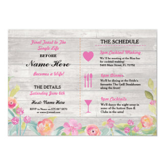 High Quality Bridal Shower Itinerary Rustic Dinner Bachelorette Card