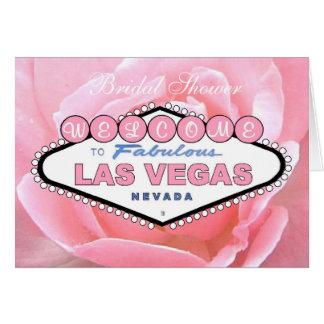Bridal Shower Las Vegas Pink Rose Invitation Card