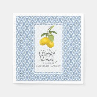 Bridal Shower Lemon Citrus Blue White Pattern Art Disposable Napkins