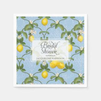 Bridal Shower Lemon Espalier Blue Citrus Floral Disposable Napkins